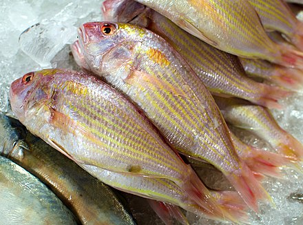 Ornate threadfin bream (Nemipterus hexodon) is often eaten deep-fried in Thai cuisine Pla sai daeng.jpg