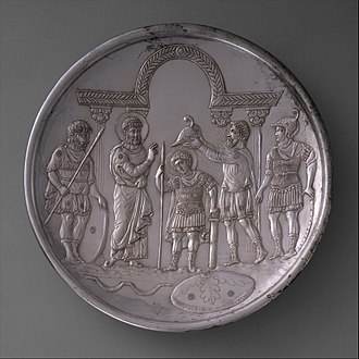 Byzantine–Sasanian War of 602–628 - Silver plate showing the arming of David, made after the conclusion of the war in 629–630. The plate, using the costumes of the early Byzantine court, suggests that, like Saul and David, the Byzantine emperor was a ruler chosen by God.