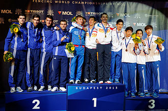 Men's team sabre at the 2013 World Fencing Championships - On the podium: from left to right, Romania, Russia, and Korea