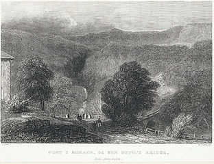 Pont Y Monach, or The Devil's Bridge. Near Aberystwith