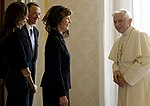 Pope Benedict XVI with Laura Bush and Barbara Bush.jpg