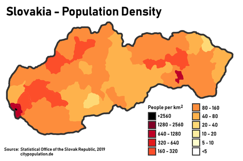 Population density in Slovakia. The two biggest cities are clearly visible, Bratislava in the far west and Kosice in the east. Population density in Slovakia.png