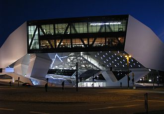 Porsche Museum, Stuttgart - Main entrance of the museum from Porsche-Platz.