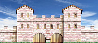 Castra - The reconstructed porta praetoria of Castrum Pfünz, Germany, near the Rhaetian Limes.