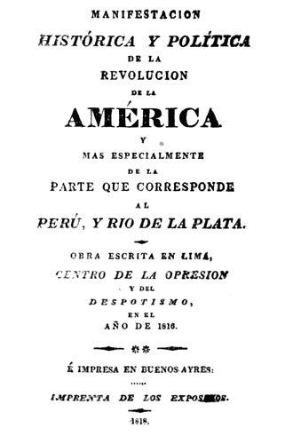 José de la Riva Agüero - Cover page of Manifestación histórica y política de la revolución de América.
