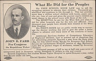 John R. Farr - Image: Postcard John R Farr Campaign What He Did For The People