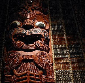 Thames, New Zealand - Poupou (wall post) from Hotunui