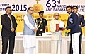 Pranab Mukherjee presenting the Rajat Kamal Award to the Producer Paywat, Rep Shri Mithunchandra Chaudhari for Best Educational Film, in Non-Feature Film Section, at the 63rd National Film Awards Function, in New Delhi.jpg