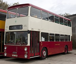 Preserved Coventry Corporation bus 135 (PDU 135M) 1973 Daimler Fleetline East Lancs, Wythall Transport Museum, 4 April 2011 (2).jpg