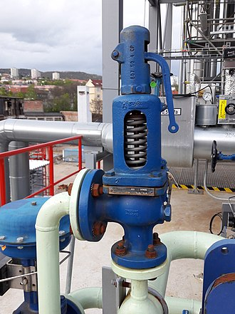 Relief valve - A relief valve DN25 on cooling water pipe from heat exchanger