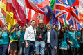 Pride in London 2016 - Sadiq Khan and Matthew Barzun with the director of Pride at the opening of the parade.png
