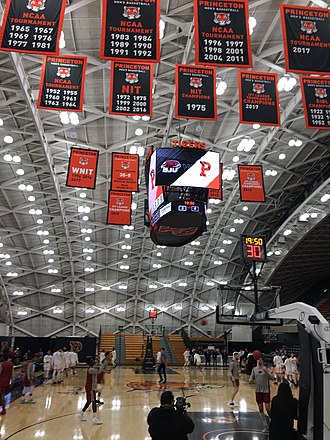 Princeton Tigers - Some of the banners highlighting the achievements of the men's and women's basketball teams, as seen below the rafters of their home Jadwin Gymnasium