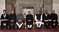 Prof. Chintamani Nagesa Ramachandra Rao and Shri Sachin Ramesh Tendulkar, recipients of the Bharat Ratna Awards 2014 with the President, Shri Pranab Mukherjee, the Vice President, Shri Mohd. Hamid Ansari, the Prime Minister.jpg