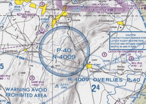 Prohibited airspace - Part of a Terminal Area Chart, showing the prohibited/restricted airspace surrounding Camp David