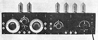 Superheterodyne receiver - One of the prototype superheterodyne receivers built at Armstrong's Signal Corps laboratory in Paris during World War I. It is constructed in two sections, the mixer and local oscillator (left) and three IF amplification stages and a detector stage (right). The intermediate frequency was 75 kHz.