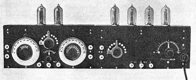 The first superheterodyne receiver built at Armstrong's Signal Corps laboratory in Paris during World War I. It is constructed in two sections, the mixer and local oscillator (left) and three IF amplification stages and a detector stage (right). The intermediate frequency was 75 kHz. Prototype Armstrong superheterodyne receiver 1920.jpg