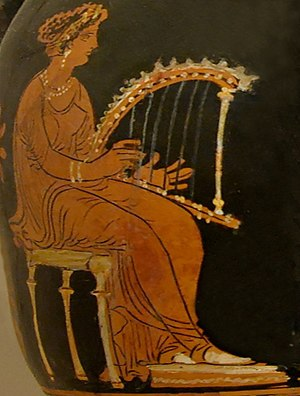 Hammered dulcimer - A woman playing a psalterion. Ancient Greek red-figured pelike from Anzi, Apulia, circa 320–310 BCE.
