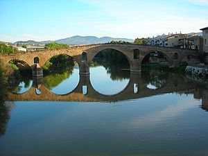Bridge (early 11th century) over the Arga rive...