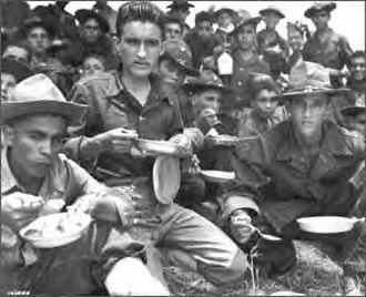 Hispanic Americans in World War II - Soldiers of the 65th Infantry training in Salinas, Puerto Rico, August 1941