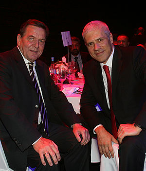 Gerhard Schröder - Gerhard Schröder attending Quadriga awards ceremony with Boris Tadić