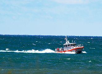 Response Boat – Medium - USCG RB-M 45604 patrolling lake Michigan at gary Indiana during an airshow