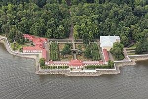 Monplaisir Palace - Image: RUS 2016 Aerial SPB Peterhof Palace Monplaisir Palace