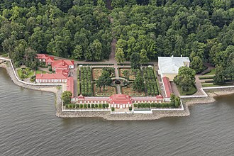 Peterhof Palace - Aerial view of Monplaisir Palace and gardens