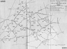 A map showing railroad traffic disruptions in the area of Army Group Center, August 1943.