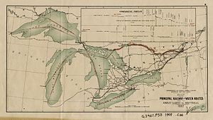 Great Lakes Megalopolis - 1907 Canadian major internal and cross border shipping routes