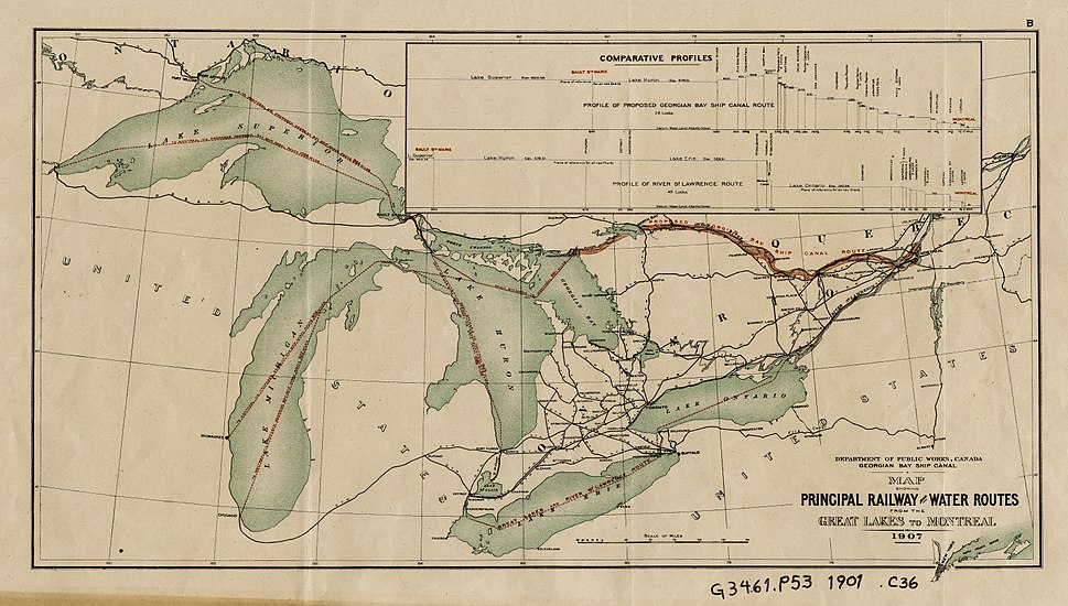 Railway and shipping routes for the Georgian Bay Ship Canal