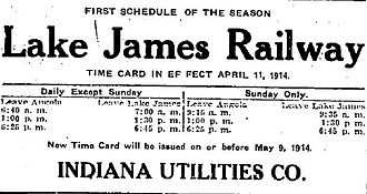 Lake James (Indiana) - Train schedule from 1914