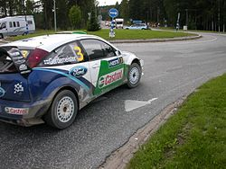 "Toni Gardemeister driving on a ""transport stage"" during the 2005 Rally Finland."
