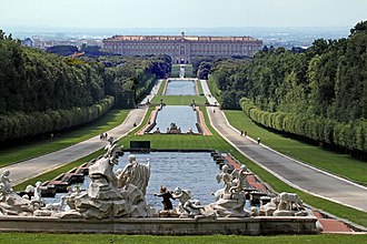 Royal Palace of Caserta - View of the northern façade from the fountain of Venus and Adonis