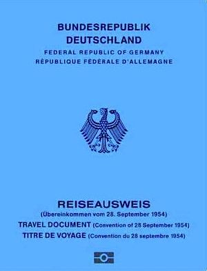 Travel document - The front side of a German 1954 Convention Travel Document