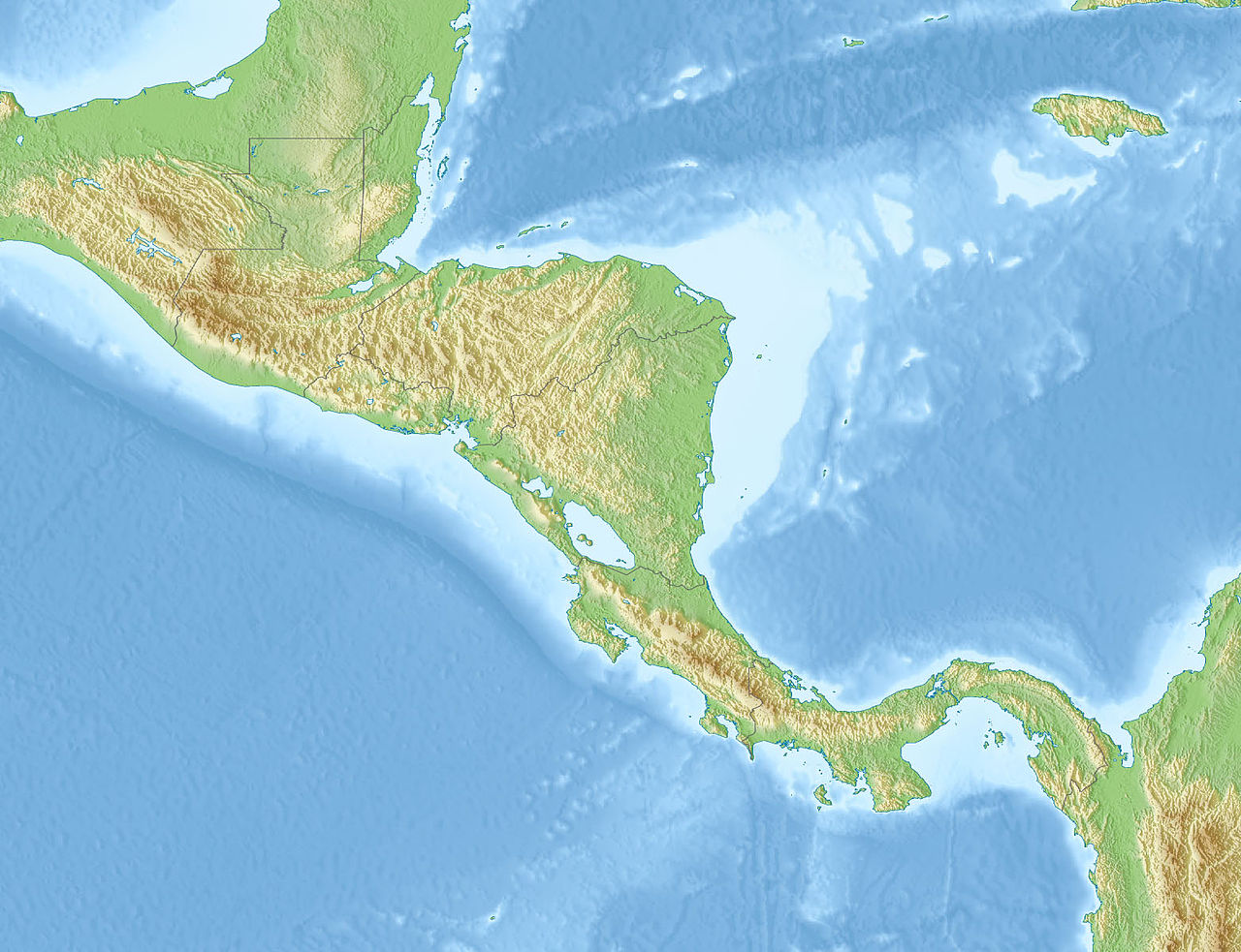 File:Relief map of Central America.   Wikimedia Commons