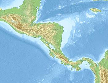 Карта рельефа Центральной Америки