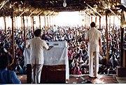 Revival crusade in Andhra Pradesh, India, Johannes Maas, American evangelist, speaking