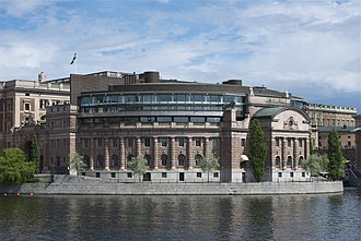 Helgeandsholmen - Helgeandsholmen and the Swedish Riksdag Building viewed from west.