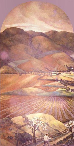 Rinaldo Cuneo - Bay Area Hills, 1934, 108 x 54 inches