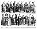 Robes. Gowns, (robes, frocks, dresses), history of western clothing. Book illustration (encyclopedia plate line art) Larousse du XXème siècle 1932.jpg