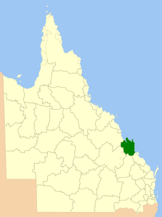 Rockhampton Region - Location in Queensland, 2013, prior to de-amalgamation of Shire of Livingstone