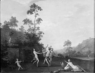 Three Nymphs Dancing with a Satyr