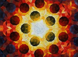 Oil painting by Urs Schmid (1995) of a Penrose...
