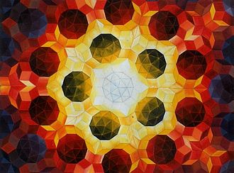Roger Penrose - Oil painting by Urs Schmid (1995) of a Penrose tiling using fat and thin rhombi.