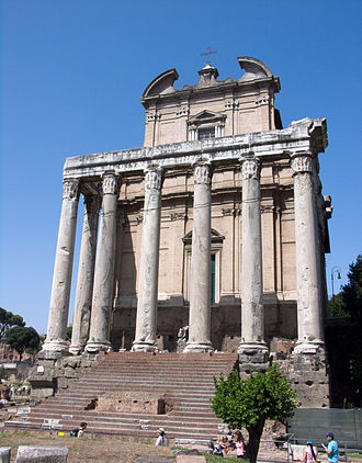 Christianized sites - San Lorenzo in Miranda occupies the Temple of Antoninus and Faustina, Rome, conserving the pronaos