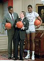 Ronald Reagan with John Thompson, Patrick Ewing (cropped).jpg