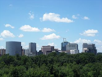 Rosslyn, Virginia - Rosslyn as seen from Kennedy Center, with Theodore Roosevelt Island in the midground.