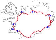 The Ring Road of Iceland and some towns it passes through:  1.Reykjavík, 2.Borgarnes, 3.Blönduós, 4.Akureyri, 5.Egilsstaðir, 6.Höfn, 7.Selfoss.