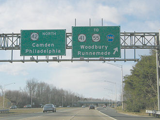New Jersey Route 41 - Northbound Route 42 at the Route 41 interchange in Deptford Township, which was reconstructed in the early 2000s.