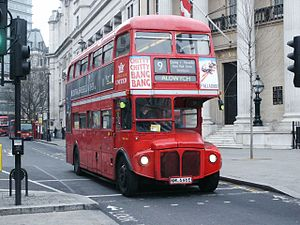 London Buses route 9 - London United AEC Routemaster on Cockspur Street in March 2004